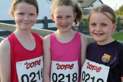 Ellis O'Donnell, Jenney Sweeney and Lucia Sweeney ready for the Burtonport festival road race.