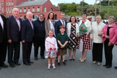 Members of the platform party at the opening of the Burtonport festival on Saturday evening.