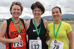 The first three woman home at the Donegal Airport 5k, Cathy Breslin, Kathleen Rodgers and Martina Mulhern.