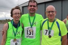 Jean Mc Glinchey, Derek Campbell and Brendan Delap at the Donegal Airport 5k on Saturday.