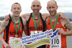 Charlie O'Donnell (centre), winner of the Donegal Airport 5k, with Shane O'Donnell (right), 2nd place and Declan Ferry 3rd place. (Photos by Eoin Mc Garvey)