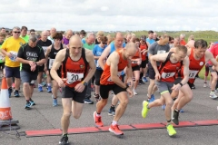 And they're off...participants in the Donegal Airport runway 5k on Saturday.