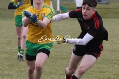 Donegal's Kyle Mc Nulty in a chase for the ball against Tyrone in Magheragallon on Saturday.