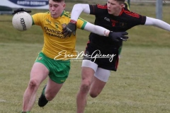 Donegal's Aaron Neilan keeps control against Tyrone's Ruairi Mc Hugh in Magheragallon on Saturday. (Pictures by Eoin Mc Garvey)