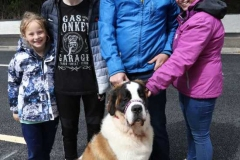 The Wilson family, Edward, Tracy, Ruan and Kayla with their St Bernard dog, Disney at Feile Anagaire.