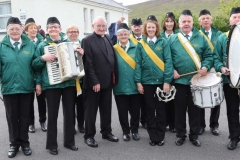 Fr Herrity with members of the Meenderry band at his golden jubilee celebration.