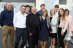 Fr Herrity with family members in Knockfola at the weekend for the celebration of the golden jubilee of his ordination. (Photos by Eoin Mc Garvey)