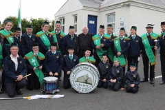 Members of the Annagry band with Fr Herrity at his golden jubilee celebrations.