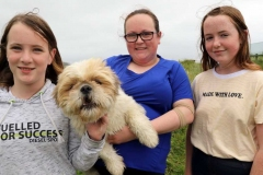 Sarah Mc Keown, Martina Mc Keown and Holly Mc Laughlin with dog Buster at the Maghery festival.