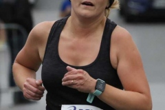 Dungloe's Breda Boyle finishing the Mary festival's 5k on Tuesday evening.