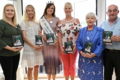 Deirdre Wilson, Sarah Mulholland, 1994 winner, Caroline O'Donnell, 2018 Mary from Dungloe, Maire Mc Cole, Mary Ward and Kevin Bonner at the launch of the Marys itinerary brochure in the Waterfront Hotel on Tuesday evening. (Photo by Eoin Mc Garvey)