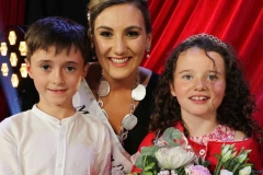 2019 Mary from Dungloe Roisin Maher with Little Miss Isabella Bulger and her escort James Doherty.