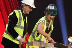 New York Mary and eventual winner Roisin Maher gives Daniel a lesson in building at the crowing cabaret on Sunday night.