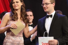 Outgoing Mary from Dungloe Caroline O'Donnell congratulates Escort of the Year Peadar Greene.