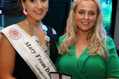 Louiser Breslin of Laveesha presenting one off jewellery to Roisin Maher, 2019 Mary from Dungloe.