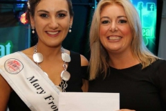 Mary Horkan from Gallagher's Bakery presenting the 2019 Mary from Dungloe Roisin Maher with a cheque for 1,000 euro. (Pictures by Eoin Mc Garvey)
